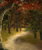 Enchanted path with red autumnal leaves. Sunset in a fantasy autumnal woodland – 3D illustration vector illustration