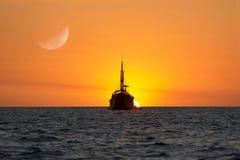 Sunset Fantasy Moon Ship Stock Photo