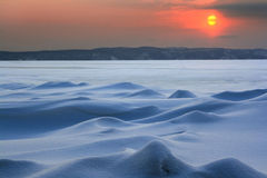 Sunset in the far north: ice desert Stock Images