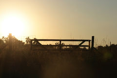 Sunset on a farm. Sunset behind a gate on a farm stock images