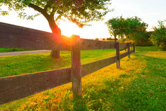 Sunset on the farm Royalty Free Stock Photos