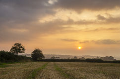 Sunset in farm fields with beautiful cloudy sky, Cornwall, UK Royalty Free Stock Photography