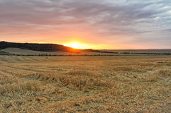 Sunset from the farm land Royalty Free Stock Image
