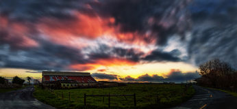 Sunset at the Farm Royalty Free Stock Photo