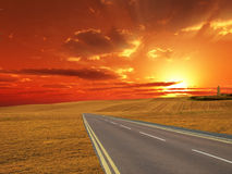 Sunset farm road Stock Images