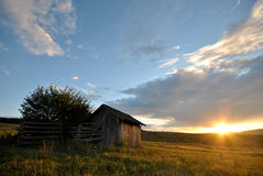 Sunset in the Farm. Shepherds hut in the beautiful sunset Stock Image