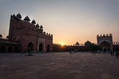 Sunset at Fatehpur Sikri. Red Fort. Sunset at Fatehpur Sikri Agra India. Red Fort. an outdoor courtyard in the ancient Mughal city of Fatehpur Royalty Free Stock Images