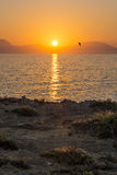 Sunset, Favignana. Island view with sunset and bird flying far in the sky. Sicily, Italy Stock Images