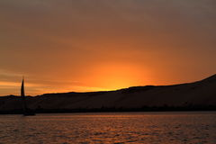 Sunset with feluccas on the Nile in Egypt Stock Image
