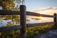 Sunset fence tree and lake Royalty Free Stock Photo