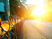 Sunset and fence Stock Image