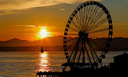 Sunset Ferris Wheel Stock Photography