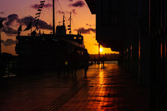 Sunset On Ferry Port Royalty Free Stock Images