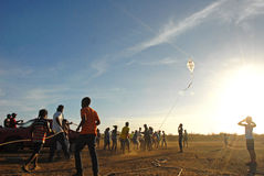 Sunset Festival di Fli. Sunset kite festival Bonaire Royalty Free Stock Photos