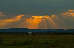 Sunset on the field Stock Photos