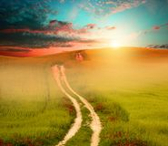Sunset field and road. Photo of field with fresh green grass, setting sun and road; green, orange and blue colors Royalty Free Stock Photo
