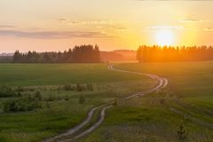 Sunset on field. The sun is falling behind the trees. The road goes to sunset royalty free stock photo