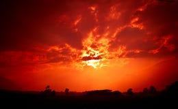 Sunset fields Stock Image