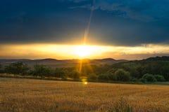 Sunset at fields near Marburg stock photos