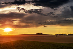 Sunset in fields in summer Stock Photos