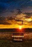Sunset in fields in summer Royalty Free Stock Photography