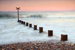 Sunset at Findhorn, Moray, Scotland stock images