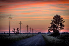 After sunset. Finnish countryside road after summer sunset Royalty Free Stock Photography