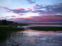 Sunset in the Finnish lake. Ylläsjärvi,Lapland. Sunset in the Finnish lake. Lapland Stock Image