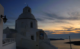 Sunset at Fira , santorini Greece Stock Photo