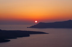 Sunset in Fira town on Santorini Stock Photos