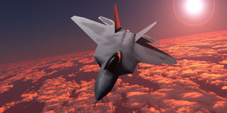 Sunset Fire F22 Fighter Jet Stock Photography
