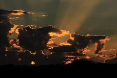 Sunset on fire Royalty Free Stock Photo