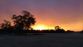 Sunset. Fire in the sky Australia echuca Royalty Free Stock Photography