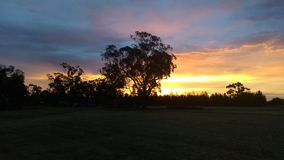 Sunset. Fire in the sky Australia echuca Royalty Free Stock Image