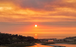 Sunset in Fire Smoke, San Diego. Smoke from a brush fire fills the air providing an intense sunset over the Pacific Ocean in the coastal city of Del Mar Stock Photos