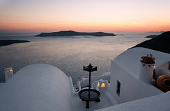 Sunset from Firostefani in Santorini, Greece Stock Photography