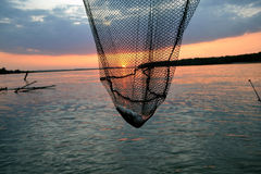 Sunset fish on the Danube. Sunset on the Danube River Royalty Free Stock Photo