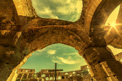 Sunset and fish eye view inside the Colosseum Royalty Free Stock Photo