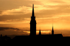 Sunset Fisherman bastion silhouette Budapest Stock Images