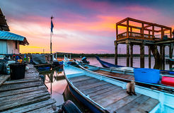 Sunset at fisherman jetty Stock Photos