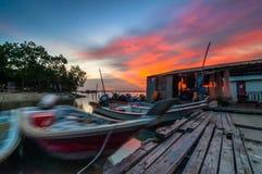 Sunset at fisherman jetty Royalty Free Stock Photo