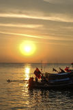 Sunset at the fisherman village on the Samui, Thailand Stock Image