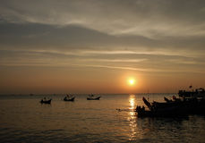 Sunset at the fisherman village on the Samui, Thailand Royalty Free Stock Photography