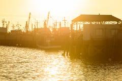 Sunset at fisherman village, Thailand Royalty Free Stock Image