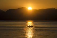 Sunset fishermen Royalty Free Stock Images