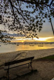 Sunset at a fishermen`s village in Florianopolis Stock Photo