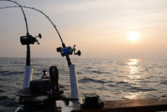 Sunset fishing Royalty Free Stock Photos