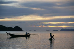 Sunset fishing Royalty Free Stock Image