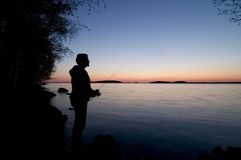 Sunset fishing Royalty Free Stock Photo