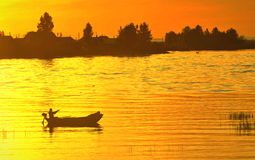 Sunset fishing Royalty Free Stock Images
